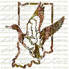 Indiana Duck Hunter Camouflage Camo Hunting Vinyl Decal Sticker Water Fowl Drake