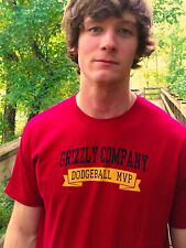 GRIZZLY COMPANY DODGEBALL MVP Red 100% Cotton Size L T-Shirt