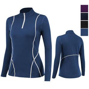 Womens Zip Pullover Long Sleeve Top Running Jogging Outdoors Performance T-Shirt
