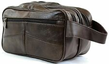 Men s Leather Toiletries   Travel   Holiday   Over Night   Weekend Wash Bag   Br
