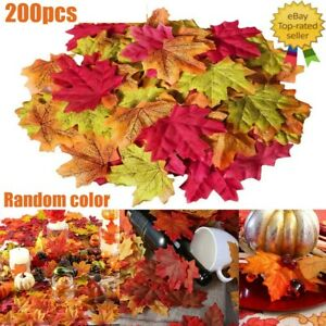 200x  Artificial Maple Leaf Autumn Fake Leaves Xmas Party Home Decoration 8*8cm