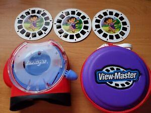 (3) Dora The Explorer View Master Reels + View Master Viewer + Reel Storage Case