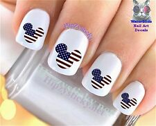 """RTG Set#633 COUNTRIES """"Mickey Ears USA Flag"""" WaterSlide Decals Nail Art Transfer"""