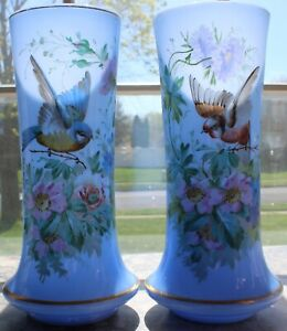 BEAUTIFUL BLUE OPALINE PAIR VASES ANTIQUE
