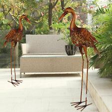 2x Außen Statue Garten Figur Kranich Vogel Balkon Grundstück Steh Deko braun