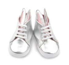 Bunny Rabbit Baby Shoes Size 12 to 18 months in metallic silver - slight defects