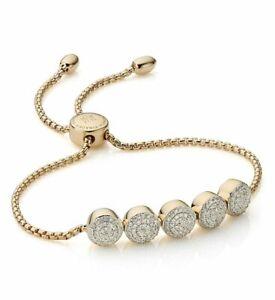Monica Vinader Fiji Button Friendship chain bracelet 18ct Gold version RRP £995
