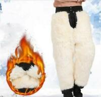 Mens Wintrer Warm Fur Fleece Pants Snow Casual Trousers Casual Warm Outwear