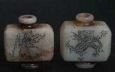 Chinese culture gray jade Snuff Bottle! Handcrafted Carved Landscape Figure