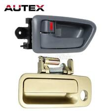 Set 2 Gold Outside Gray Interior Front Left Door Handle for Toyota Camry  97-01