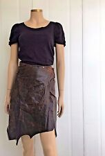 Plein Sud Brown Distressed Leather Skirt Popper Buttons Unique Hem detail EUR 36