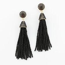 Black Boho Jewelry Handmade Seedbeads Tassel Earrings Beaded Chandelier Long