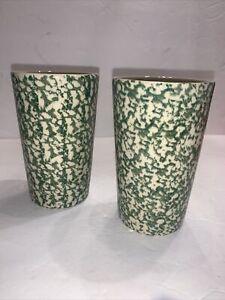 HENN WORKSHOPS 2 Green SPONGED TALL TUMBLERS  Pottery Glasses ROSEVILLE, OH