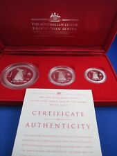 1999 AUSTRALIAN LUNAR YEAR OF THE RABBIT - RARE PROOF ISSUE 3 COIN SET No65/487