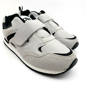 Totes Chromatics Mens Sz 9.5 Gray Black Comfort Hook n Loop Sneaker Shoes 76612