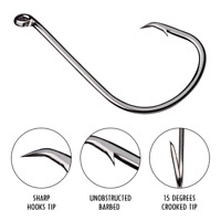 100pcs 7384 High Carbon Steel Strong Offset Sport Circle Fishing Hook Black Hook