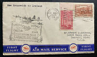 {SOLD} 1939 Shediac Canada First Flight Airmail Cover FFC To Ireland