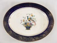 """Century Salem 23 Karat Peacock 11 1/4"""" Vtg USA Made Oval Dinner Serving Platter"""
