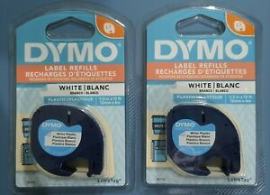 2 GENUINE Dymo Letratag White Plastic Labels