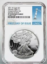 2021 W American  Silver Eagle 1oz Congratulations Set NGC PF70 FDOI FIRST DAY !