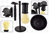 4 Pcs Safety Razor Set Men's Shaving Kit With Badger Hair Brush & Dual Stand