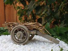 Miniature Dollhouse FAIRY GARDEN Furniture ~ Wood Wagon Cart with Straw Bundle