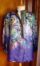 Stunning Purple + Multi Paisley Sheer Silk ETRO MILANO Tunic Blouse - L - VGC