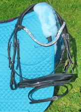 FSS Aquamarine Blue Crystal Bling FREEWAY CUT AWAY MonoCrown Poll PATENT Bridle