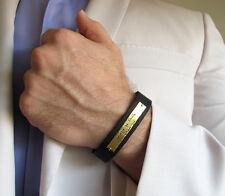 Custom Jewish Bracelet for Men. Hebrew Engraved Leather Bracelet Israeli Gift