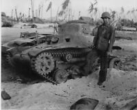 B&W Photo Japanese Tank Namur Kwajelein Atoll WWII WW2 World War Two Pacific