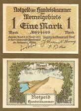 Memel 1 Mark Banknote : From short-lived German inter-war state. Rare and UNC.
