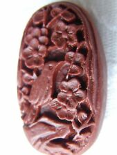 2 Brown Carved Bird Cinnabar Lacquerware Beads, Oval 33x18mm, Jewellery/Crafts