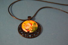 SANTA CLAUS black Cabochon PENDANT -  NECKLACE New! Jewelry USA SELLER Christmas
