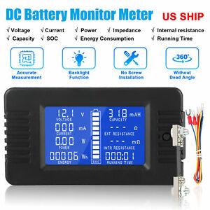 LCD Display DC Battery Monitor Meter 0-200V Volt Amp For Car RV Solar 100A Shunt