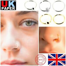STERLING SILVER FAKE NOSE RING THIN LIP HELIX SEPTUM EAR PIERCING HOOP WITH BALL