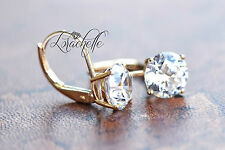 3.0 ct Brilliant Round Drop Dangle Leverback Earrings Real Solid 14k Yellow Gold