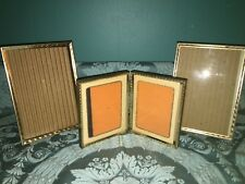 3 embossed vintage bright gold metal frame photo picture 5x7 table top 4x5 hinge