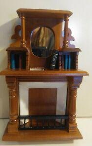 Dollhouse Miniature Furniture Walnut Victorian Fireplace Hutch Books Town Square