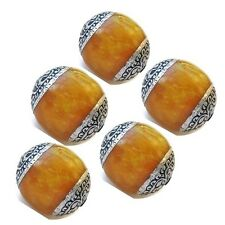 Wholesale 5 Big Nepal Beeswax Amber 925 Sterling Silver Repousse Amulet Beads