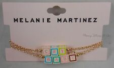 New Official Melanie Martinez Cry Baby 3D Blocks Bracelet Set Gold Tone Chain