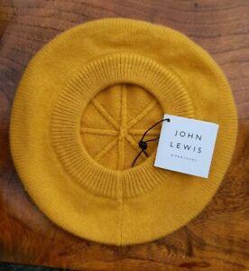 John Lewis 100% Cashmere Beret Hat Yellow Ochre Mustard One Size BNWT