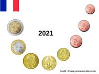 Série 8 pièces Euros France 2021 - 1 centimes à 2 Euros UNC