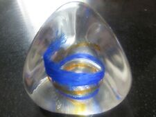 Caithness, Scotland Glass Paperweight, 'Pebble' Blue & Yellow Pyramid Shape