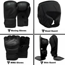 RDX Boxing Gloves, MMA Gloves, Head Guard, Shin Guard Training kickboxing Black