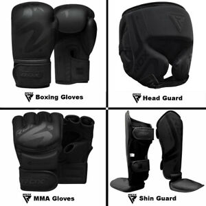 RDX Boxing Gloves, MMA Gloves, Head Guard, Shin Guard Training kickboxing Black