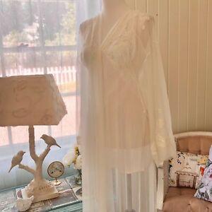 Victorias Secret Peignoir Set Small Chemise Gown XS/S Robe White Sheer Lace Mesh