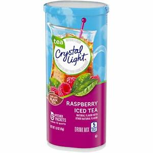 CRYSTAL LIGHT RASPBERRY ICED TEA Powdered DRINK MIX (5 Pitcher Packs x 1 Can)