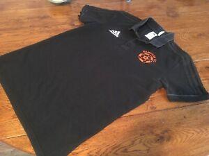 Adidas football polo shirt top black  size medium