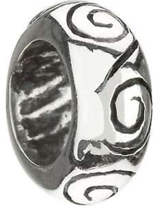 "AUTHENTIC CHAMILIA 925 STERLING SILVER ""S"" DESIGN SPACER BEAD PA-14 NEW CHARM"