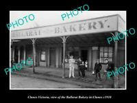 OLD POSTCARD SIZE PHOTO OF CLUNES VICTORIA VIEW OF THE BALLARAT BAKERY c1910